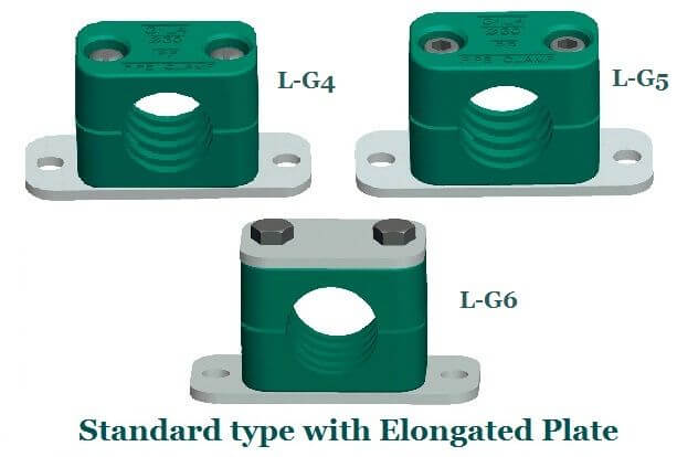 standard elongated hydraulic pipe clamps